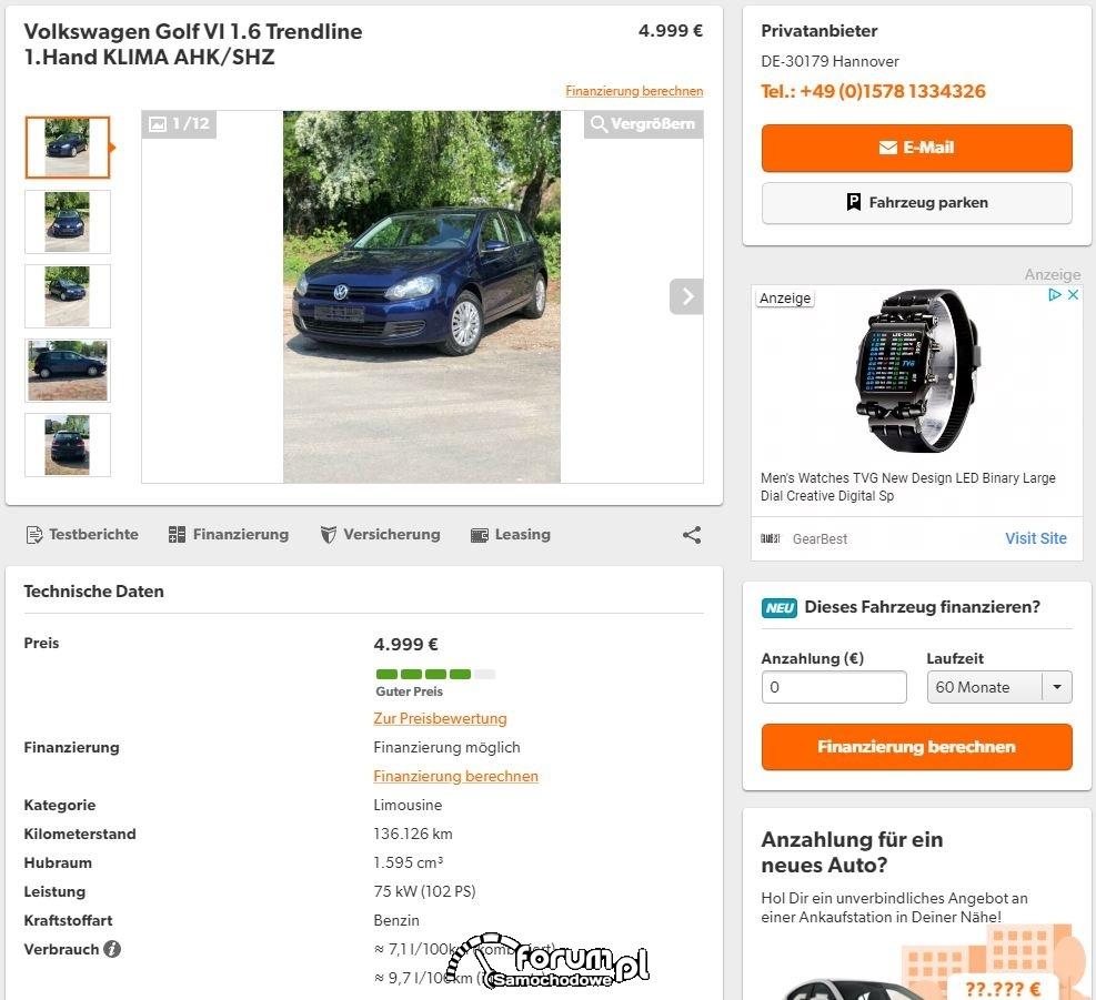 Kręcony licznik - auto sprzedawane w Niemczech...