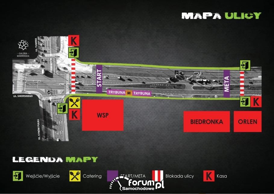 Mapa wyścigów ulicznych - Night Power 2016