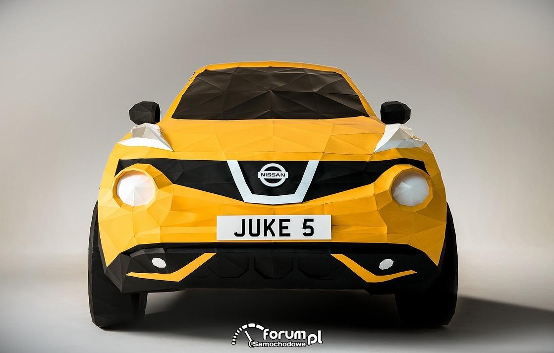 Nissan Juke 5, przód, pełnowymiarowa makieta w technice origami