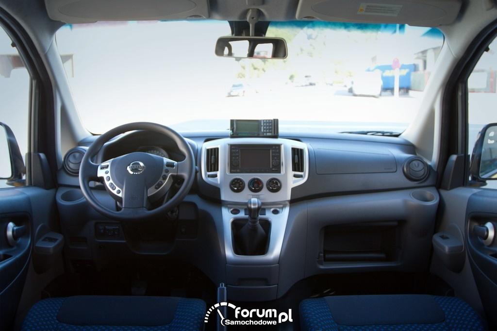 Nissan NV200, Taxi Barcelona, deska rozdzielcza, kokpit