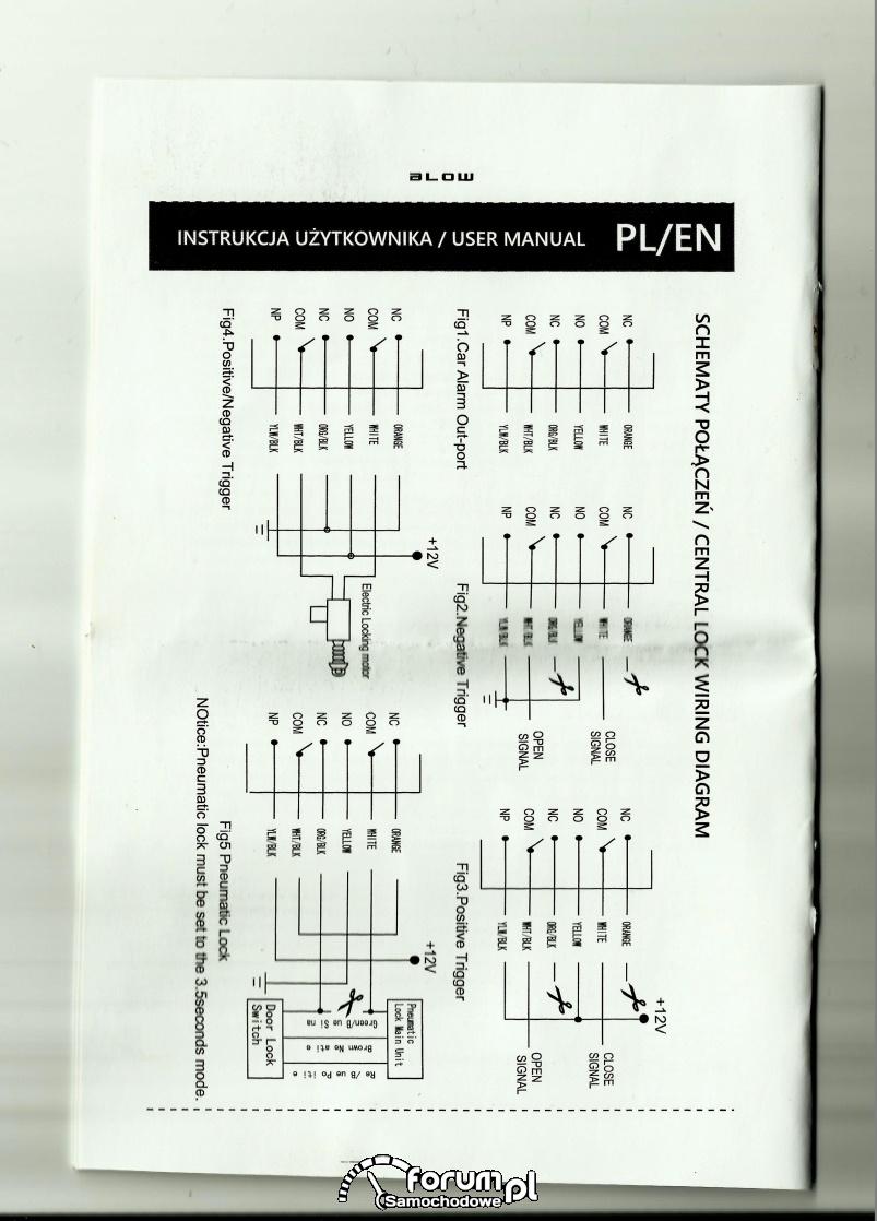Podłączenie sterownika zamka centralnego blow model s5
