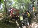 Jeep Wrangler leżący na boku