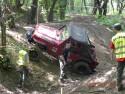 Jeep Wrangler, wjazd pod górę między drzewami