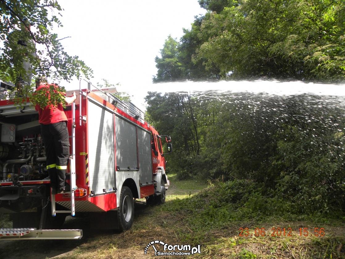 Wóz strażacki w lezie i armatka wodna