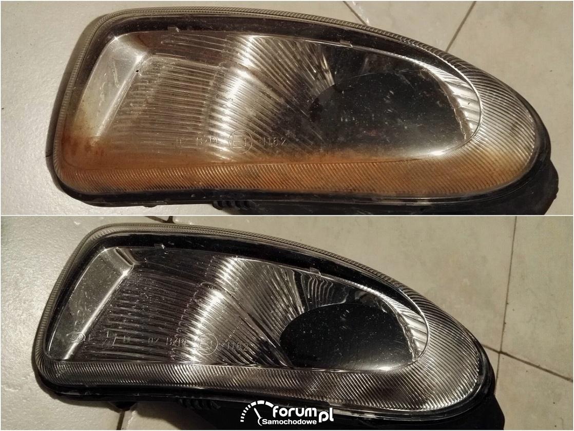 Przednie halogeny, lampy - przed i po   czyszczeniu