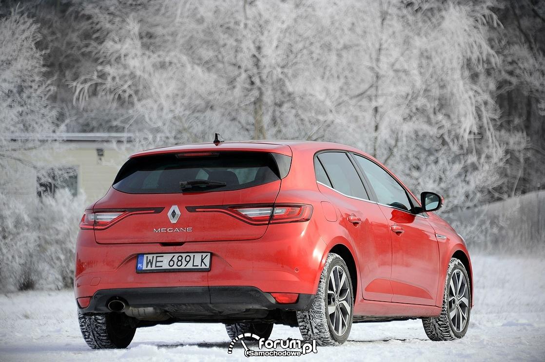 Renault Megane, tył, zima, śnieg