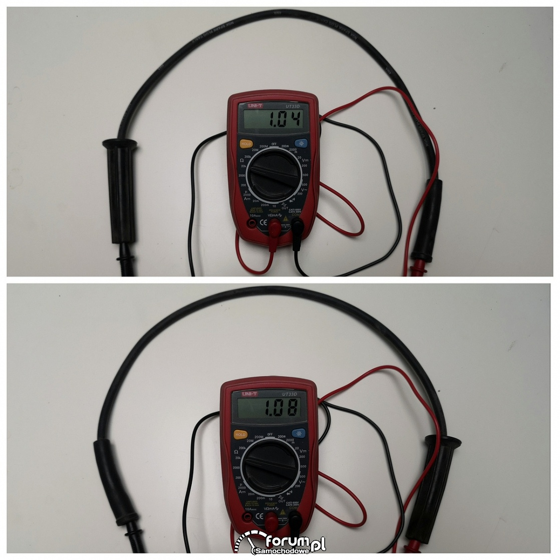 Oporność kabli wysokiego napięcia o długości 62cm
