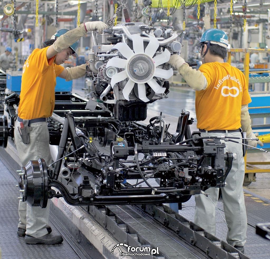 Mitsubishi Fuso, montaż silnika z ramą w fabryce