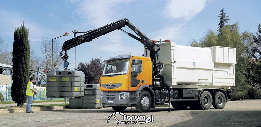 Hakowiec komunany z dzwigiem, Renault, ciężarówki hakowe