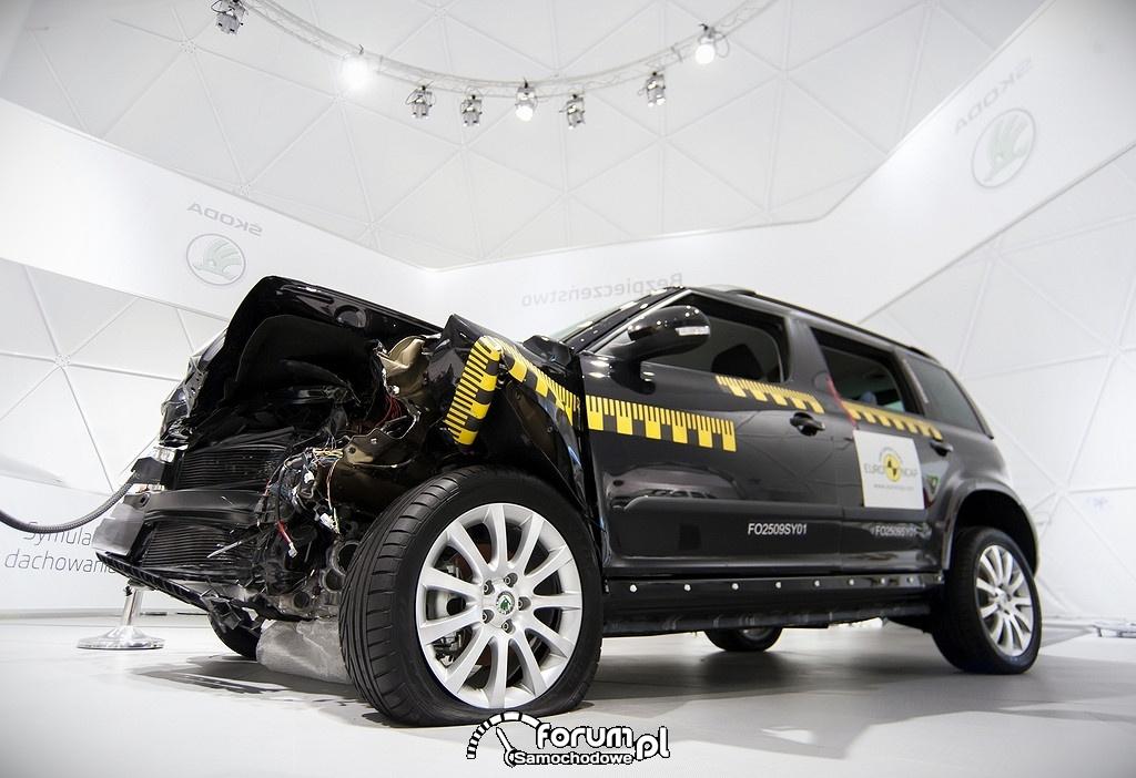 Skoda Yeti, samochód po teście zderzeniowym EuroNCAP