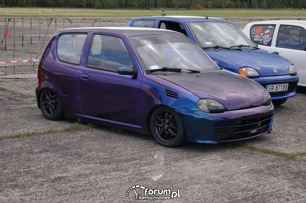 Fiat Seicento, tuning, alufelgi, fioletowy metalic