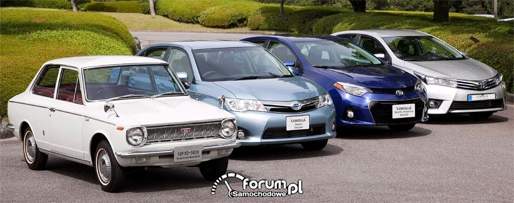 Corolla 1966 i modele 11 generacji w wersji japońskiej, amerykańskiej i europejskiej