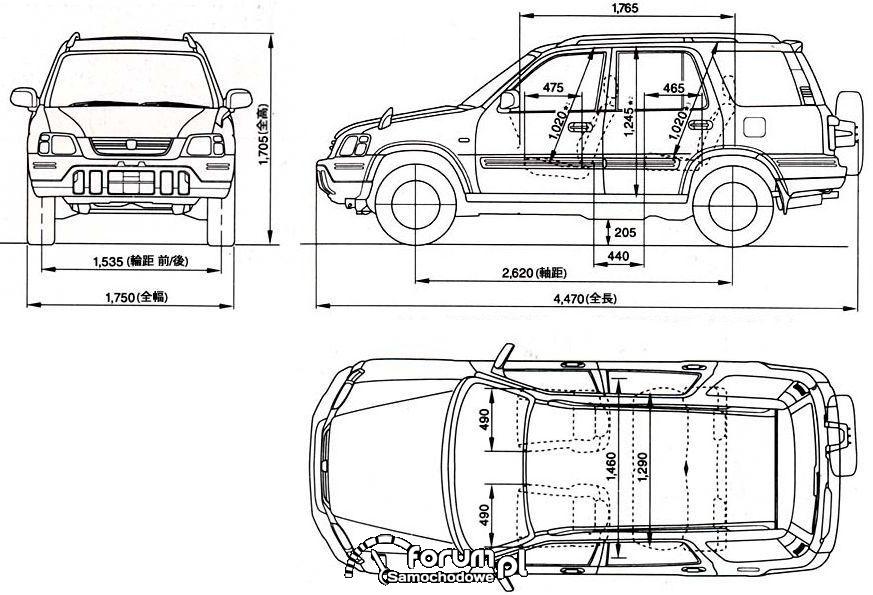 Honda CRV I wymiary