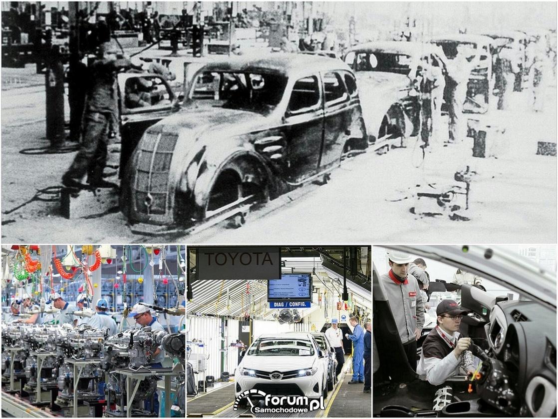 Linia produkcyjna Toyoty dawniej i dziś