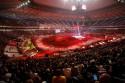 Tor na stadionie podświetlony na czerwono