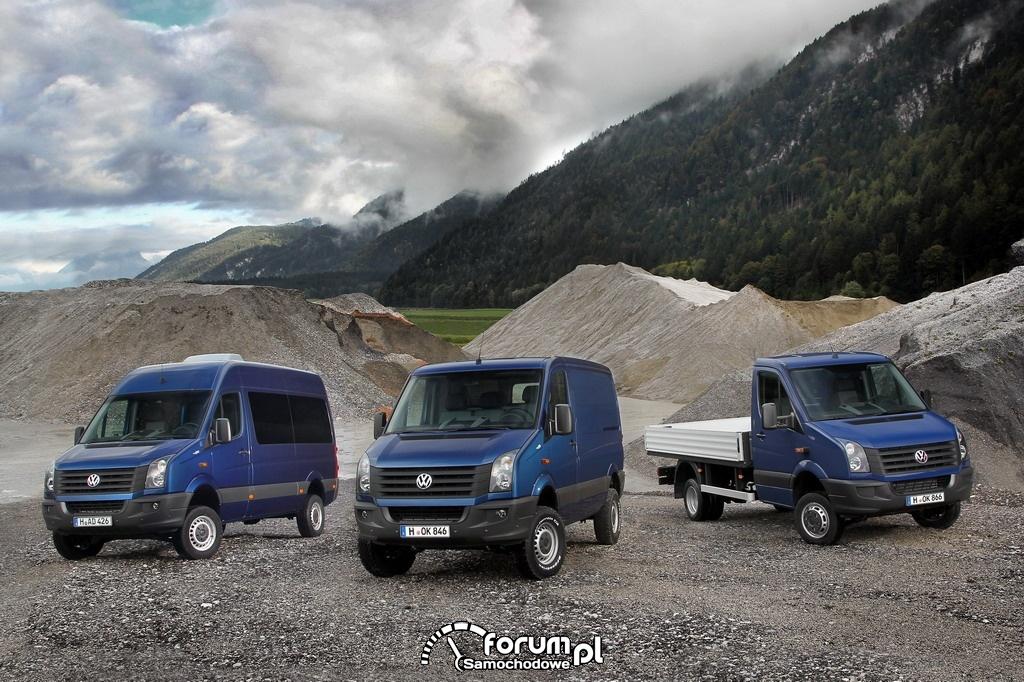 Volkswagen Crafter 4MOTION, wersjie nadwozia furgon, kombi, skrzyniowy