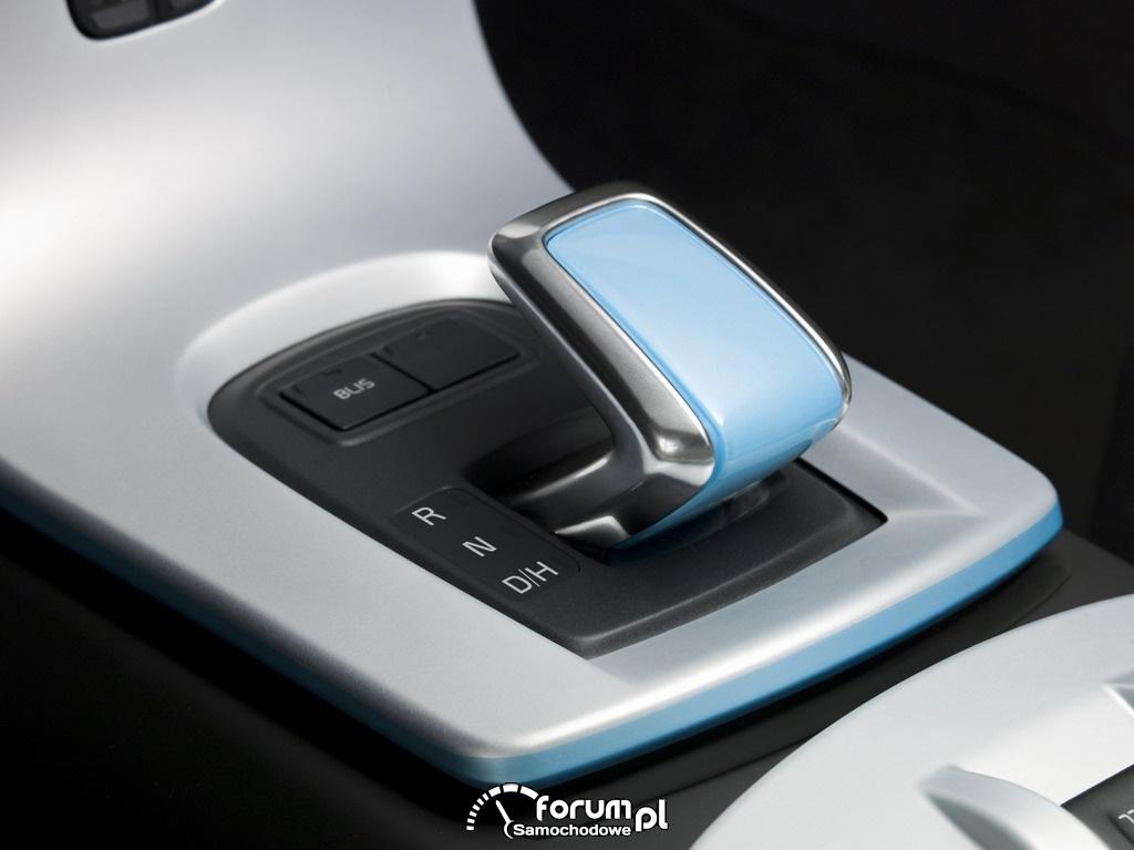 Volvo C30 Drive, dźwignia zmany przełożeń, samochód elektryczny