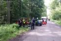Czołowe zderzenie samochodów w lesie
