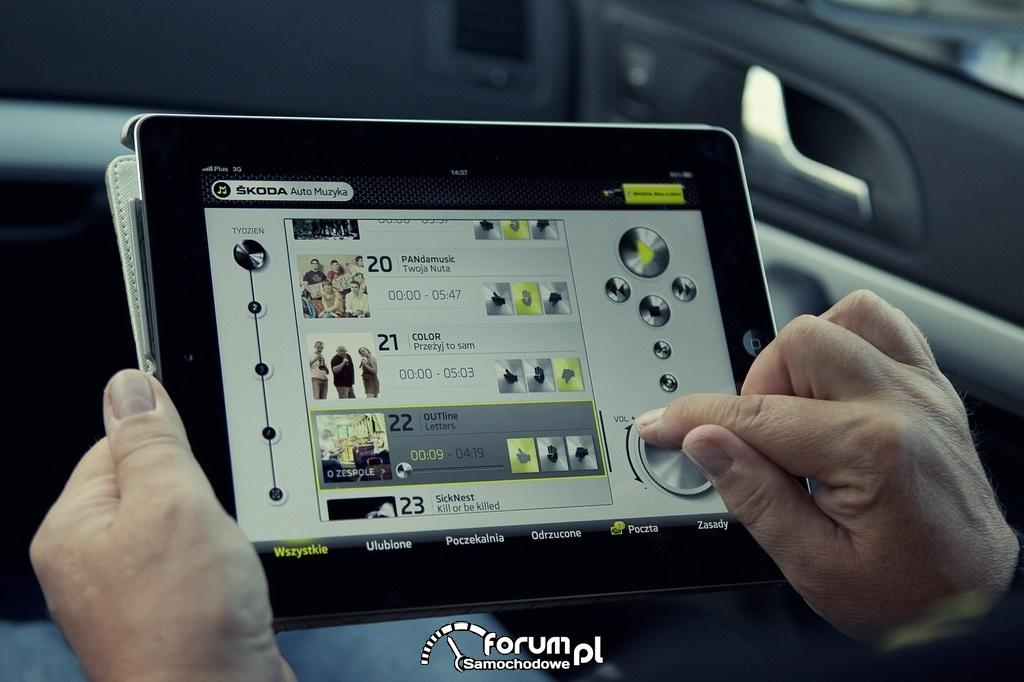 iPad ze specjalną aplikacją do głosowania, SKODA Auto Muzyka