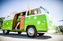 VW T Bulli, zielony w białe kwiatki